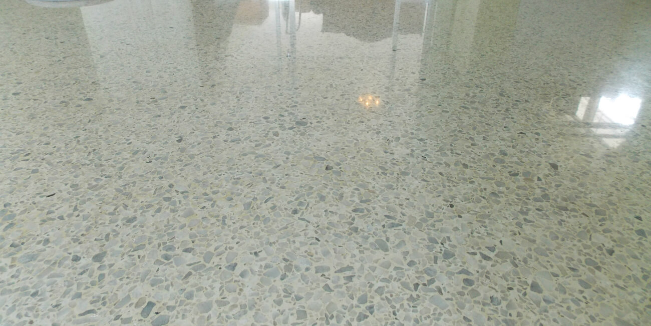 White Terrazzo Grinding and Polishing